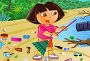 game Ecofreak dora cleaning beach