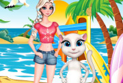 game Elsa And Angela Surfing Time