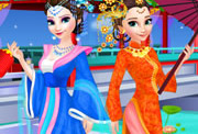 game Elsa And Anna Chinese Dressup
