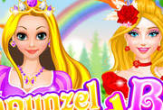 game Rapunzel and Barbie Dress Up
